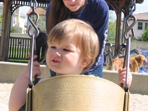 In a swing