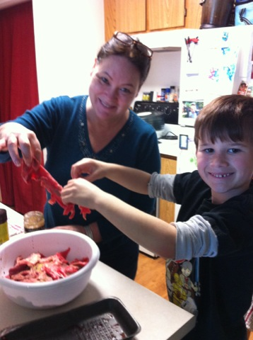 Making beef jerky with Nana
